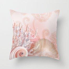 SEASHELL DREAMS   pink Throw Pillow