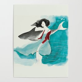 Girl and a shark love Poster