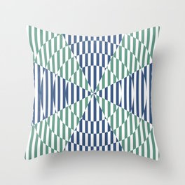 Crossing the lines - the blue and green optical illusion Throw Pillow