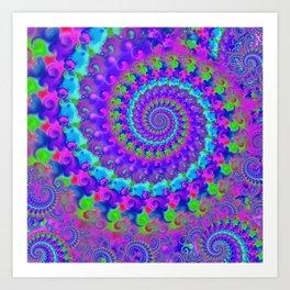 Funky Blue Fractal Pattern Art Print