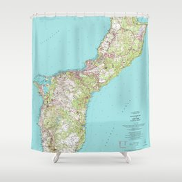 Vintage Topographical Map of Guam Shower Curtain