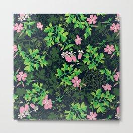 Forest Wildflowers / Dark Background Metal Print