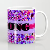 scripture Mugs featuring BE STRONG Bold Colorful Purple Abstract Painting Pattern Christian Scripture Inspiration Typography by The Faithful Canvas