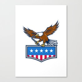 American Eagle Towing J Hook USA Flag Retro Canvas Print