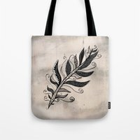 feather Tote Bags featuring FEATHER by Nika