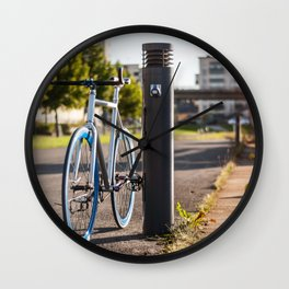 Bike on Harbor 3 Wall Clock
