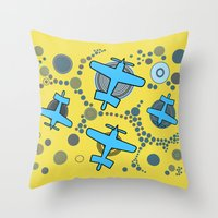airplanes Throw Pillows featuring blue airplanes by Isabella Asratyan