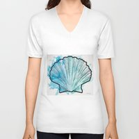 shell V-neck T-shirts featuring Shell by Bryan McKinney
