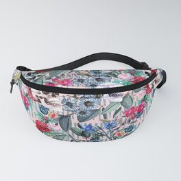 Flowers and Skulls (Pink) Fanny Pack