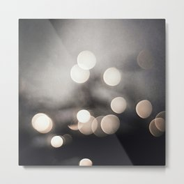 Black and White Bokeh Lights Photography, Sparkle Light Art, Neutral Sparkly Photo Metal Print
