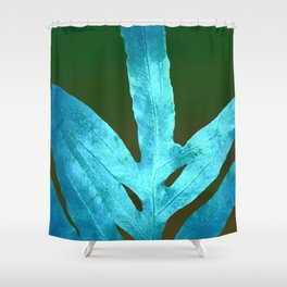 Autumn Leaves Blue and Cold Fall to the Ground Shower Curtain