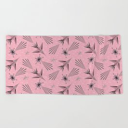Space Planes & Shooting Stars - Pink Beach Towel