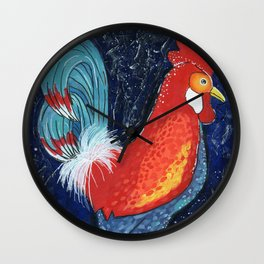 Colorful Rooster Art on Dark Blue Background by Kimberly Schulz Wall Clock