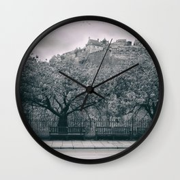 edinburgh castle Scotland vintage style view black and white dirty Wall Clock