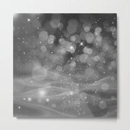 Whimsical Silver Glowing Christmas Sparkles Festive Bokeh Holiday Art Metal Print