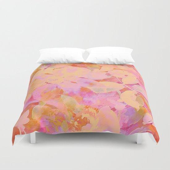 orange and peach floral Duvet Cover