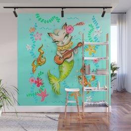 Mermaid Cat with Ukulele Wall Mural