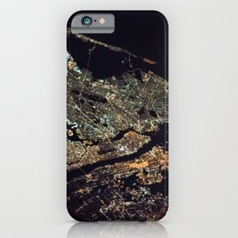 New York City - Manhattan, Brooklyn, New Jersey Satellite Night View Photograph iPhone Case