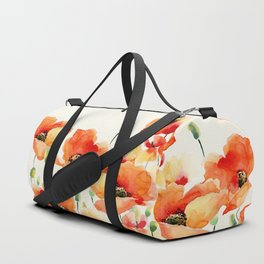 Poppy Flower Meadow- Floral Summer lllustration Duffle Bag