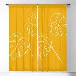 Monstera minimal - yellow Blackout Curtain