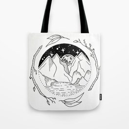 Moon Over Mountain Range Circular Botanical Illustration Tote Bag