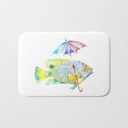 Fishy Fish - Original Watercolor of Yellow Mask Angel Fish with Umbrella Bath Mat