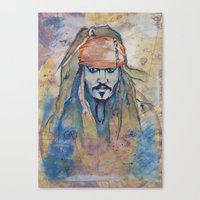 jack sparrow Canvas Prints featuring Jack Sparrow by Nicola Girello
