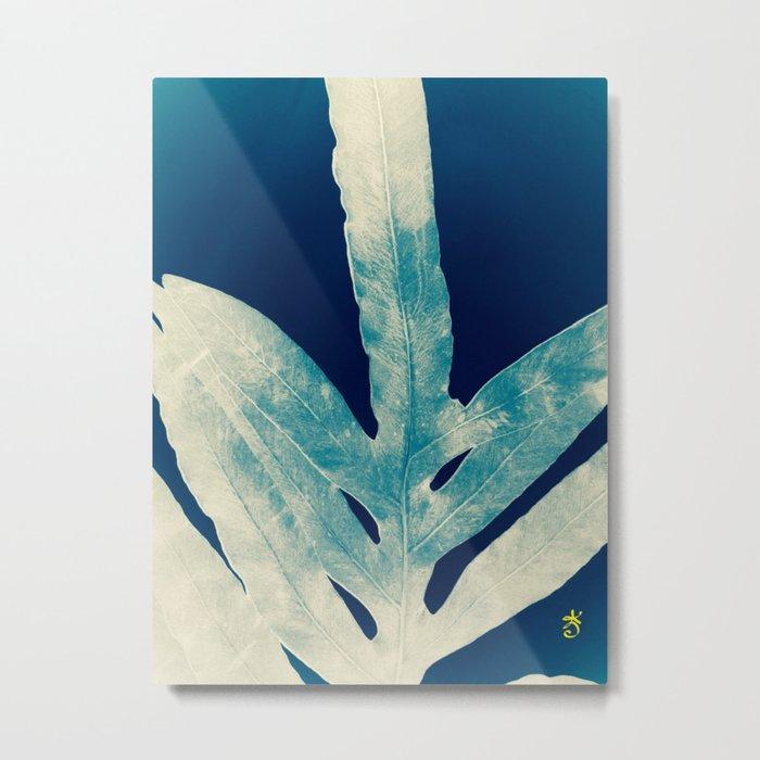 Green Fern at Midnight Bright, Navy Blue Metal Print