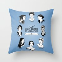 literature Throw Pillows featuring Great Women of Literature by geeksweetie