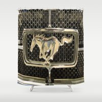 mustang Shower Curtains featuring Mustang  by Dragons Laire