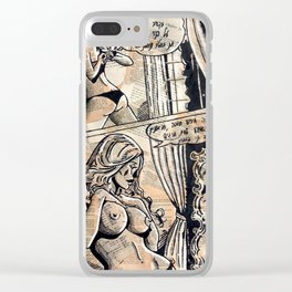 Erotic Sexy Comics | Nude French Woman Girl | Naked Clear iPhone Case