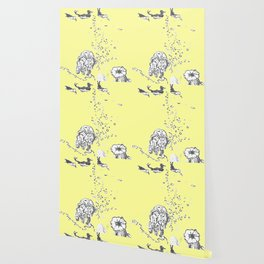 Two Tailed Duck and Jellyfish Baby Yellow Wallpaper