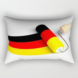 Roller paint brush giving to a white surface the colors of the german flag - 3D rendering illustrati Rectangular Pillow