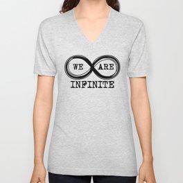 We are infinite. (Version 3, in black) Unisex V-Neck