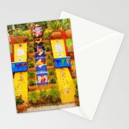 Casa Azul Tropical Garden Mexican Landscape Painting by Jeanpaul Ferro Stationery Cards
