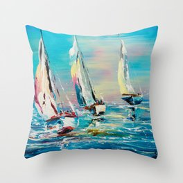 YACHTS ON THE WIND Throw Pillow