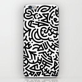 Bold Black Marker Doodle Line iPhone Skin