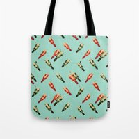 otters Tote Bags featuring Otters' attractions by Lillian Ip-Koon