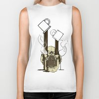 pocket fuel Biker Tanks featuring Skull Fuel by Allbrotnar