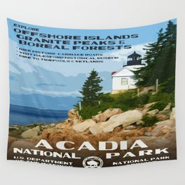 Vintage poster - Acadia National Park Wall Tapestry