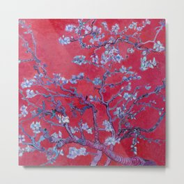 "Vincent van Gogh ""Almond Blossoms"" (edited red) Metal Print"