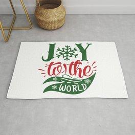 Joy To The World Christmas Typography Slogan Rug
