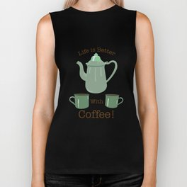 Life is Better with Coffee Illustrated Typography Biker Tank