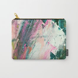 Meditate [2]: a vibrant, colorful abstract piece in bright green, teal, pink, orange, and white Carry-All Pouch