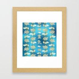 Reiki Healing hands Symbol with lotus on blue Framed Art Print