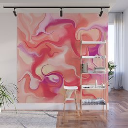 Fluid Living Coral Digital Painting Wall Mural