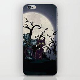 Vintage Halloween Cemetery Cat iPhone Skin