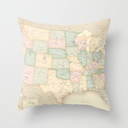 "Vintage map of the USA, high detail, ""librarian"" Throw Pillow"