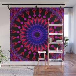 Mandala; Purple Blue and Black Wall Mural