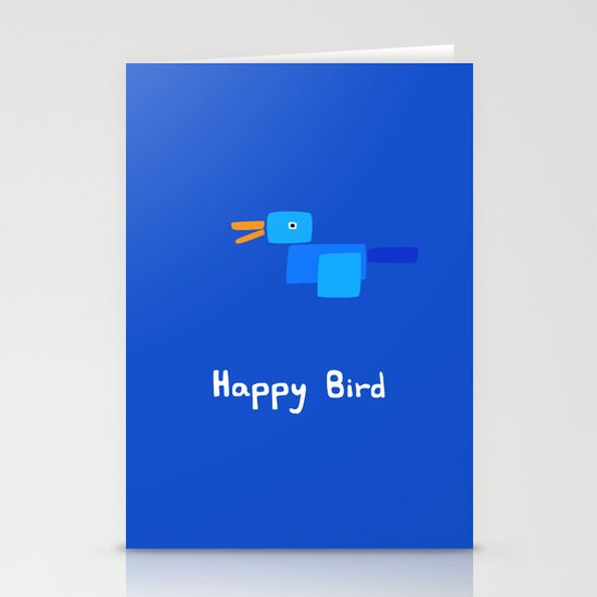 Happy Bird-Blue Stationery Cards